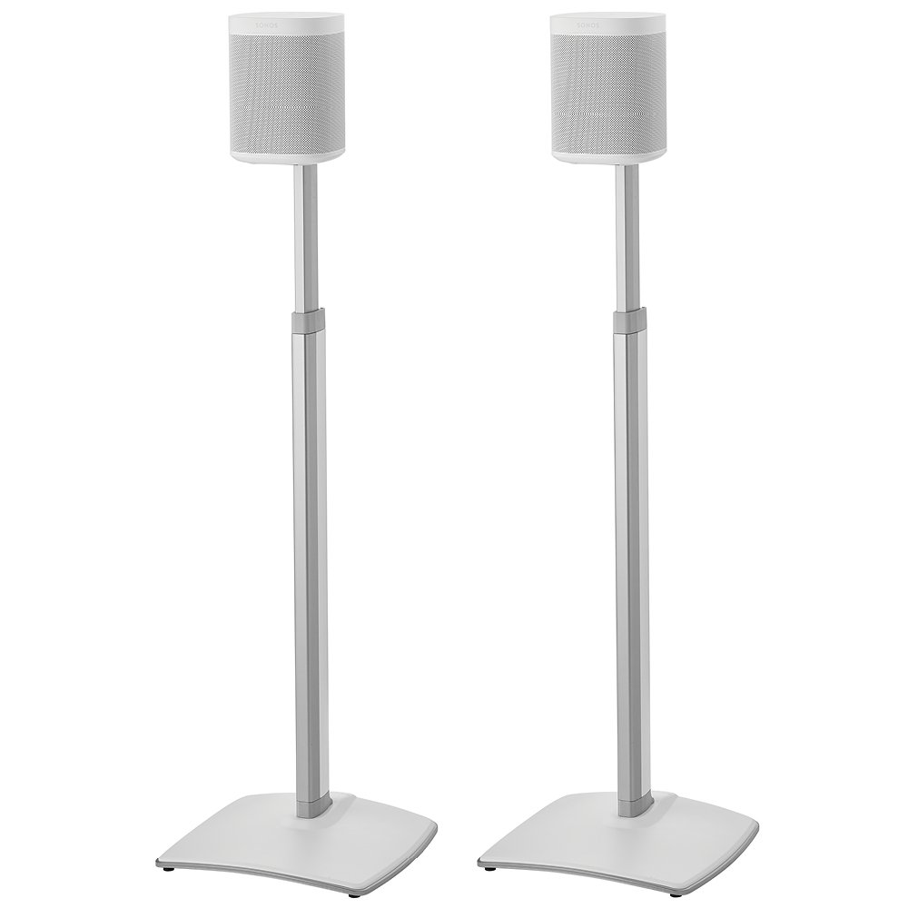 SANUS Adjustable Height Wireless Speaker Stands designed for SONOS ONE, Play:1, and Play:3 - Tool-Free Height Adjust Up to 16'' With Built In Cable Management - White Pair - WSSA2-W1