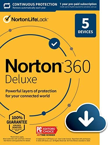 Norton 360 Deluxe 2021 – Antivirus software for 5 Devices with Auto Renewal - Includes VPN, PC Cloud Backup & Dark Web Monitoring powered by LifeLock [Download] WeeklyReviewer