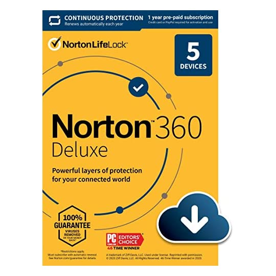 Norton 360 Deluxe 2021 – Antivirus software for 5 Devices with Auto Renewal – Includes VPN, PC Cloud Backup & Dark Web…