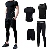 4Pcs Men's Sportswear Quick Dry Fitness Workout Suits with Compression Shirt Leggings Black
