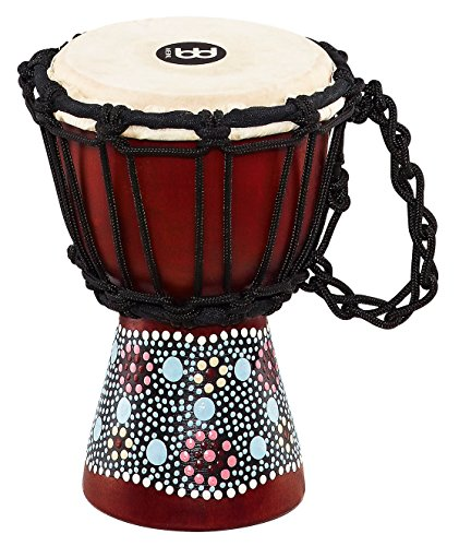 Meinl Percussion HDJ8-XXS Flower Design Rope Tuned Mahogany Wood 4 1/2-Inch Mini Djembe with Goat Skin (Hand Painted Drum Table)