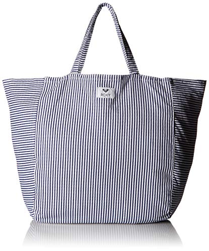(Roxy Time is Now Striped Canvas Tote Bag, Dress Blue Cornfield)