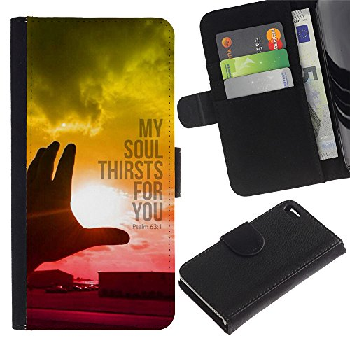 EuroCase - Apple Iphone 4 / 4S - PSALM 63:1 MY SOUL THIRSTS FOR YOU - Cuir PU Coverture Shell Armure Coque Coq Cas Etui Housse Case Cover
