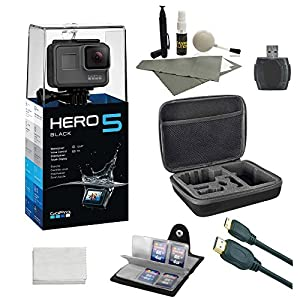 GoPro HERO 5 Black (7 items) + 64 GB Micro SD + Case + Accessory Bundle