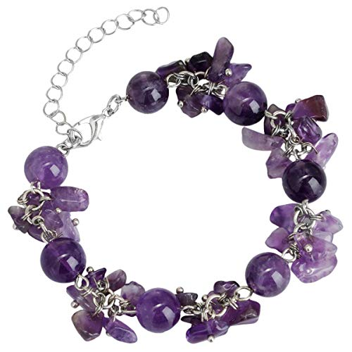 TUMBEELLUWA Tumbled Chips Stone Bracelet Irregular Shaped Healing Crystal Chakra Beads Polished Adjustable Handmade Jewelry for Women,Amethyst