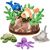 Prextex 5 Piece Set of Plush Soft Stuffed Sea Animals Playset with Plush Coral Reef House for Storage Includes Stuffed Octopus, Turtle, Stingray, Nemo Fish, and Blue Whale