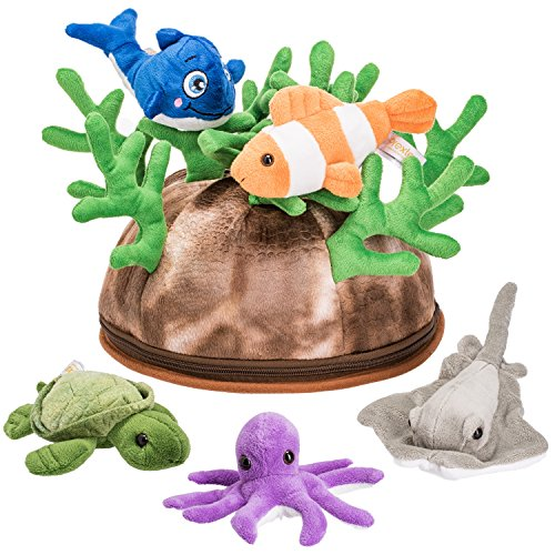 Prextex 5 Piece Set of Plush Soft Stuffed Sea Animals Playset with Plush Coral Reef House for Storage Includes Stuffed Octopus, Turtle, Stingray, Nemo Fish, and Blue Whale -