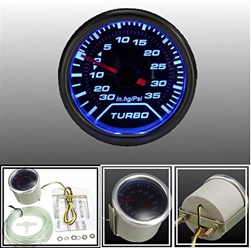 Gauge Meter 52mm Universal Blue LED Pointer PSI Smoke Tint Len (Turbo Meter)