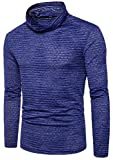 FLCH+YIGE Mens Fashion Turtleneck Long Sleeve Hipster Hip Hop T-Shirt Blouse Blue XS
