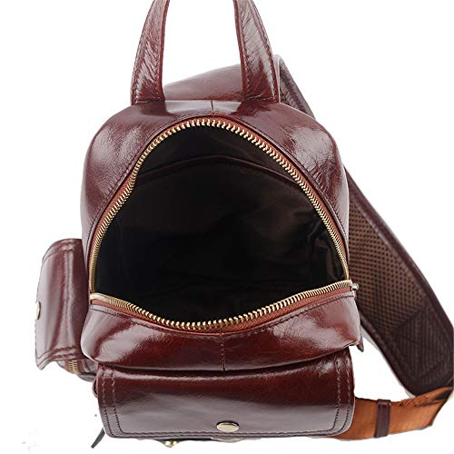 Sharon Zhou Leisure Brown Vintage Man's Shoulder Leather Business For Crossbody Men's color Lightweight Brown Bag Top Sling Chest Casual ArfqAwd6