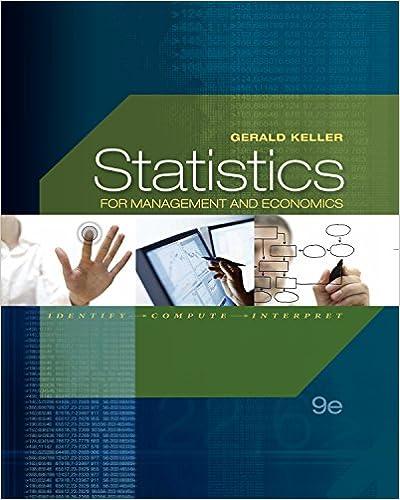 Statistics for management and economics 9th edition gerald keller tes….