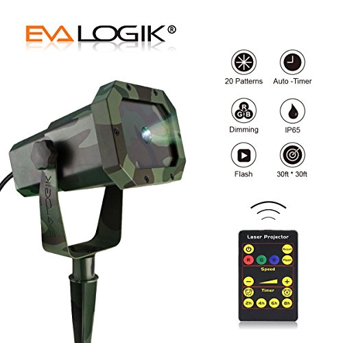 EVA Logik Outdoor Waterproof Laser Projector Light, Moving RGB 20 Patterns, with RF Remote Control & Timer, Perfect for Lawn, Party, Garden Decoration by Eva logik