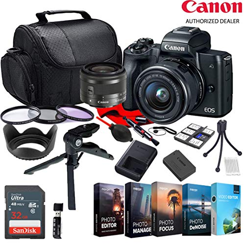 Canon EOS M50 EF-M 15-45mm STM Zoom Lens KIT W/Photo Editing Software + Accessory Bundle