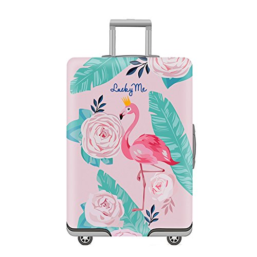 Travel Luggage Cover Washable Spandex Suitcase Cover, For 19-32 Inches Luggage (Flamingos, M)