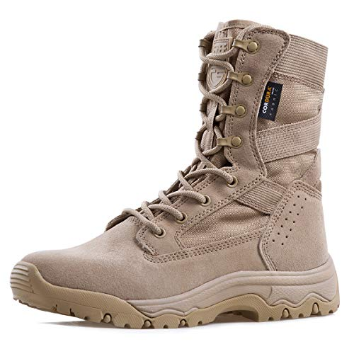 FREE SOLDIER Men's Tactical Boots 8 Inches Lightweight Combat Boots Durable Suede Leather Military Work Boots Desert Boots (Tan, 10.5)