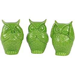 Urban Trends Ceramic Owl No Evil, Assortment of Three, Gloss Lime Green