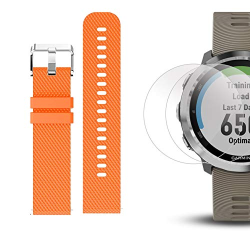 Garmin Forerunner 645 Bundle with Extra Band & HD Screen Protector Film (x4) | Running GPS Watch, Wrist HR, LiveTrack, Garmin Pay (Sandstone, Orange) by PlayBetter (Image #6)