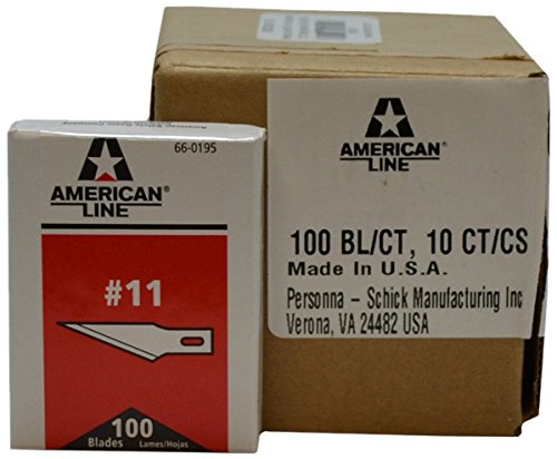 American Line 66-0195CS #11 Hobby Carbon Blades, 0.021'', 10 Boxes per Case (Pack of 1000) by American Line