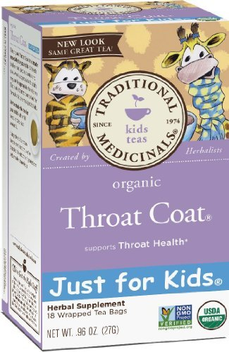 Traditional Medicinals Organic Throat Coat Just for Kids Herbal Tea- 2 Pack (Total of 36 Bags)