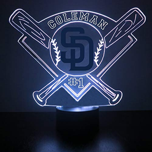 San Diego Padres Baseball LED Night Light Customized/Personalized Gift - Featuring Licensed Decal