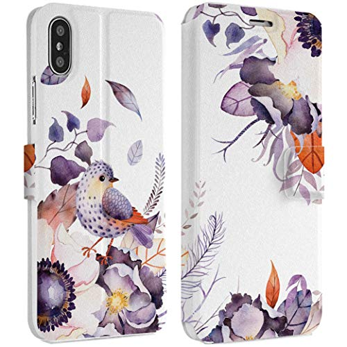 Wonder Wild Purple Wildflowers iPhone Wallet Case X/Xs Xs Max Xr 7/8 Plus 6/6s Plus Card Holder Accessories Smart Flip Hard Design Protection Cover Birds Flyers Animals Nature Sparrow Feather Girly ()