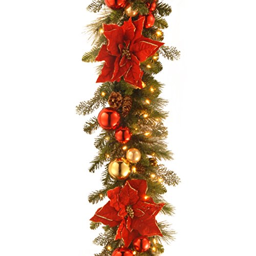 National Tree 9 Foot by 12 Inch Decorative Collection Home for the Holidays Garland with Ball Ornaments, Poinsettia Flowers, Cones and 100 Clear Lights (DC13-110L-9B-1) by National Tree Company