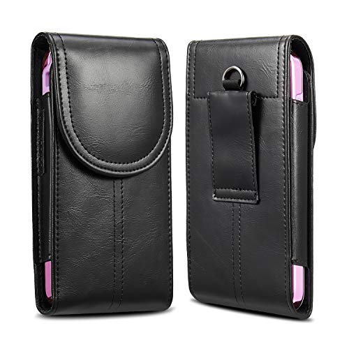KIWITATA iPhone 8 Plus 7 Plus XS Max Belt Holster,Vertical Premium Leather Cellphone Holster Belt Pouch Case [Belt Loop] for iPhone 6S Plus Galaxy S9 S8 (Fits Slim Case On) Black