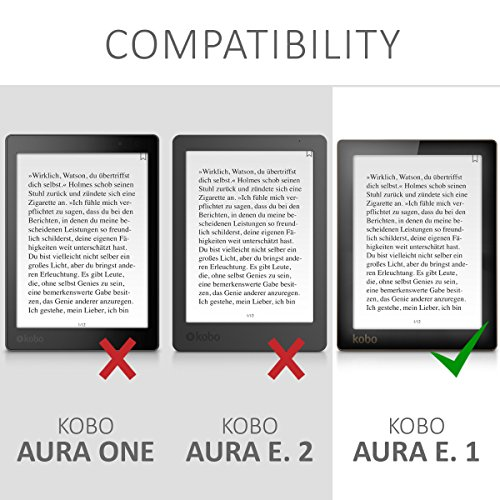 kwmobile Case for Kobo Aura Edition 1 - Book Style PU Leather Protective e-Reader Cover Folio Case - white black by kwmobile (Image #6)