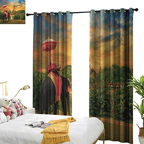 Blackout Curtains Elephant Elephant Dressing with Thai Kingdom Tradition Accessories Pagoda in Ayuthaya Home Garden Bedroom Outdoor Indoor Wall Decorations W120 x L96 Green Marigold