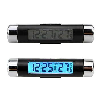 BAAQII Termómetro de reloj despertador para autos Juego fácil Pantalla LCD de luz azul digital 2