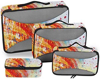 手描きのカラフルな水彩アート荷物パッキングキューブオーガナイザートイレタリーランドリーストレージバッグポーチパックキューブ4さまざまなサイズセットトラベルキッズレディース