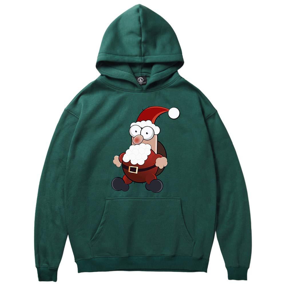 GREFER Men Women Hooded Sweatshirt Winter Santa Claus Print Long Sleeve Tops Christmas Costume Green