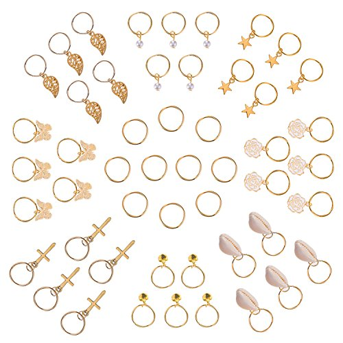 Price comparison product image Hotop 50 Pieces Hair Braid Rings Hair Loops Clips Gold Ring Shell Leaves Star Bells Roses Butterfly Bells Pearl Pendant Rings Set, Gold