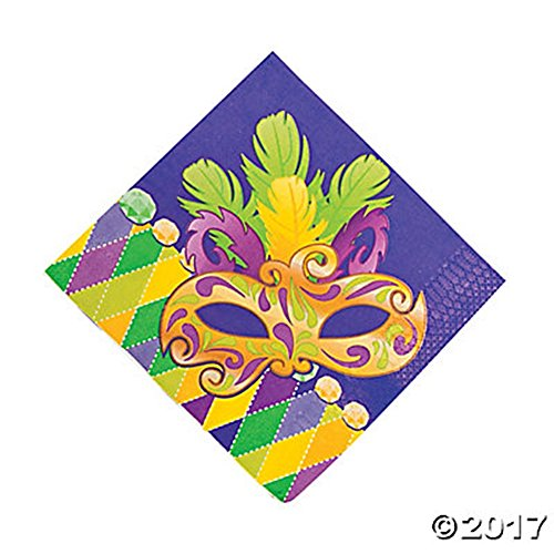 16 Pack - Mardi Gras Napkins ~ Mask and Feathers ~ Purple Green -