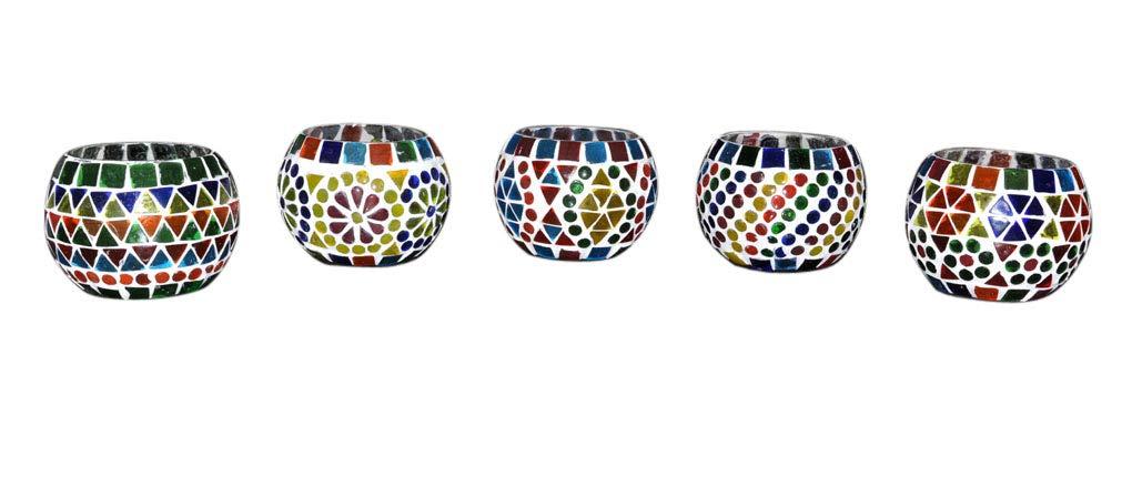Lalhaveli Mosaic Glass Candle Holder Set 5 by Lalhaveli