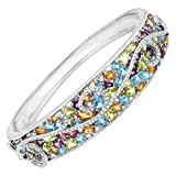 13 ct Natural Multi Semi-Precious Stone & 3/8 ct Diamond Swirl Bangle Bracelet in Sterling Silver