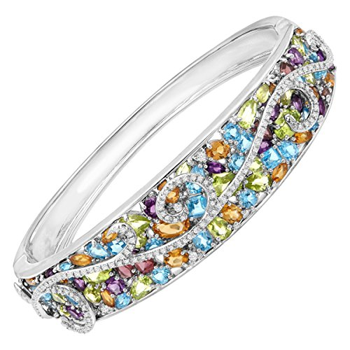 (13 ct Natural Multi Semi-Precious Stone & 3/8 ct Diamond Swirl Bangle Bracelet in Sterling Silver )