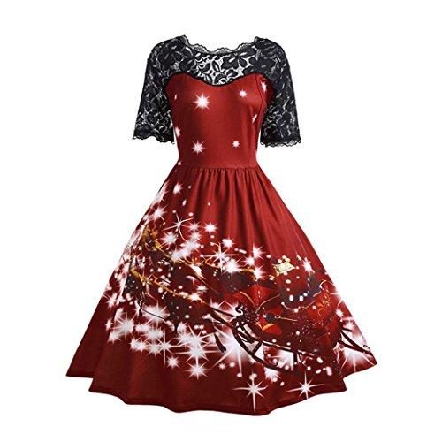 Abito di Natale, Longra Vestito da cucito del merletto di stampa del tema di Natale del poliestere del merry Christmas (Size:34, Vino Rosso)