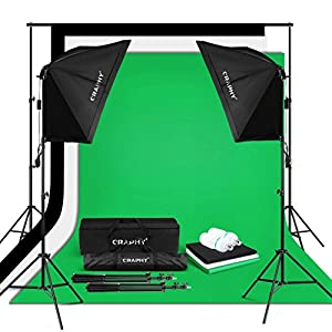 "CRAPHY 2x125W 5500K Photo Studio Video Lights Continuous Lighting Kit for Photography (20x28"" Softbox + 3 Muslin Backdrops (White Black Green) + Background Support Stand (10x6.5ft)"