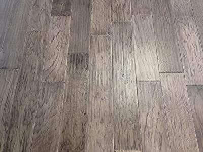 "Elk Mountain Hickory Gray Cloud 3/8 x 5"" Hand Scraped Engineered Hardwood Flooring SAMPLE"
