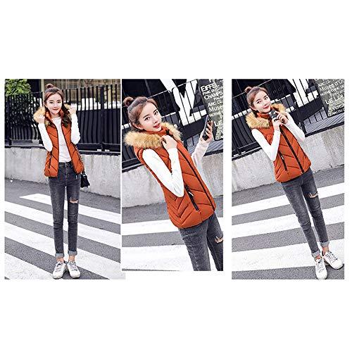 Slim De Veste Sans Femme Col Épais Fourrure Orange Coton Manches Court Bozevon Coréenne À Version Gilet Y8wxd