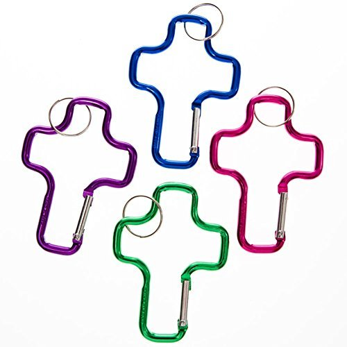 Fun Express - Aluminum Cross Clip Key Chains - Bulk (1-Pack of 12)