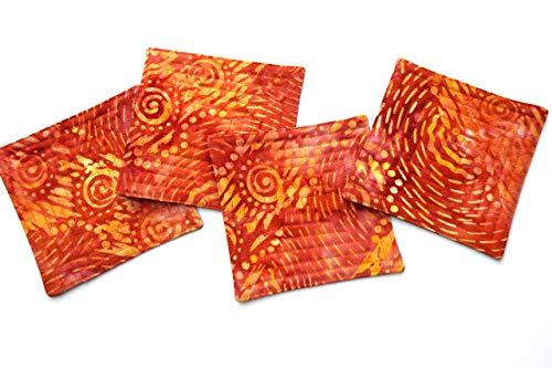 Quilted Batik - Batik Quilted Orange Fabric Coasters Set