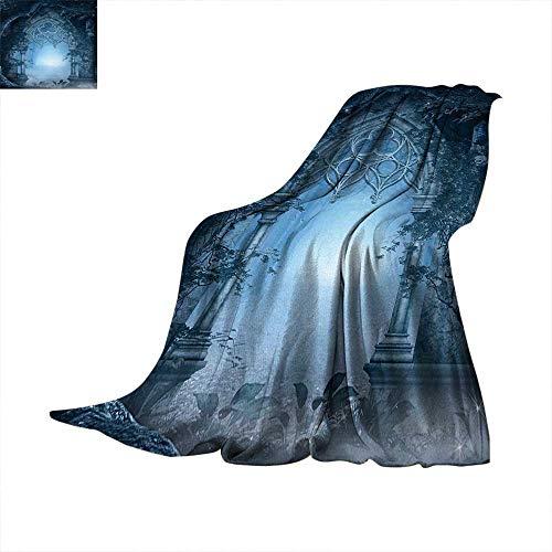 Fantasy Custom Design Cozy Flannel Blanket Passage Doorway Through Enchanted Foggy Magical Palace Garden at Night View Lightweight Blanket Extra Big 80