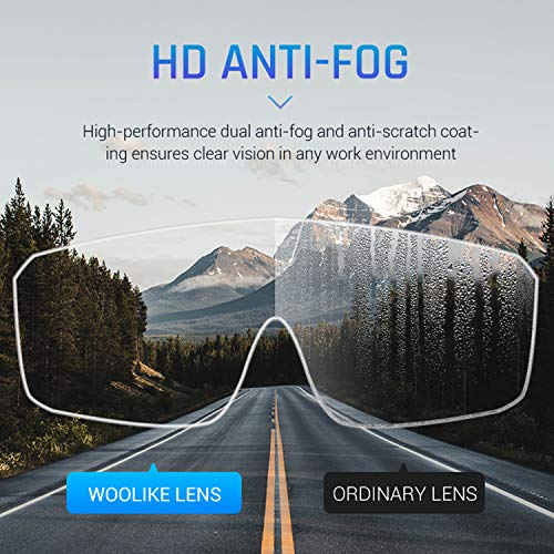 WOOLIKE Safety Goggles Industrial Goggles with Anti-fog Lens, Clear Safety glasses with Anti-Scratch UV400 protection Lens Goggles Inside Eyeglasses FA-03 (Transparent frame&Clear lens)