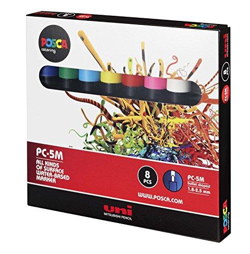Uni Posca Paint Marker Pen, Medium Point, Set of 8 (PC-5M8C)