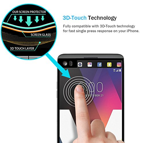[3 Pack] LK Screen Protector for LG V20, [Full Cover] [Japan Tempered Glass] 9H Hardness with Lifetime Replacement Warranty (Black)