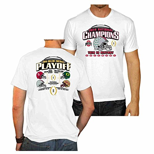 - Ohio State Buckeyes 2015 College Football Champions White T-Shirt (M)