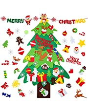 WD&CD DIY Felt Christmas Tree Set with 33 Detachable Ornaments New Year Xmas Gifts for Kids Door Wall Hanging Decor