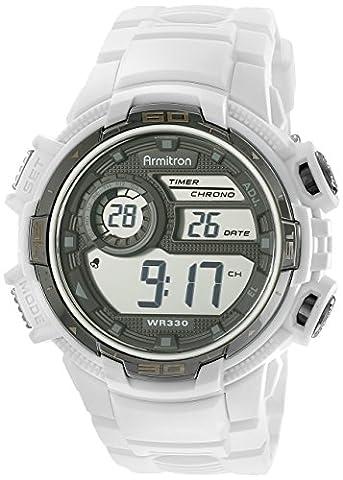 Armitron Sport Men's 40/8347WHT Silver-Tone Accented Digital Chronograph White Resin Strap Watch (Armitron Sports 50)